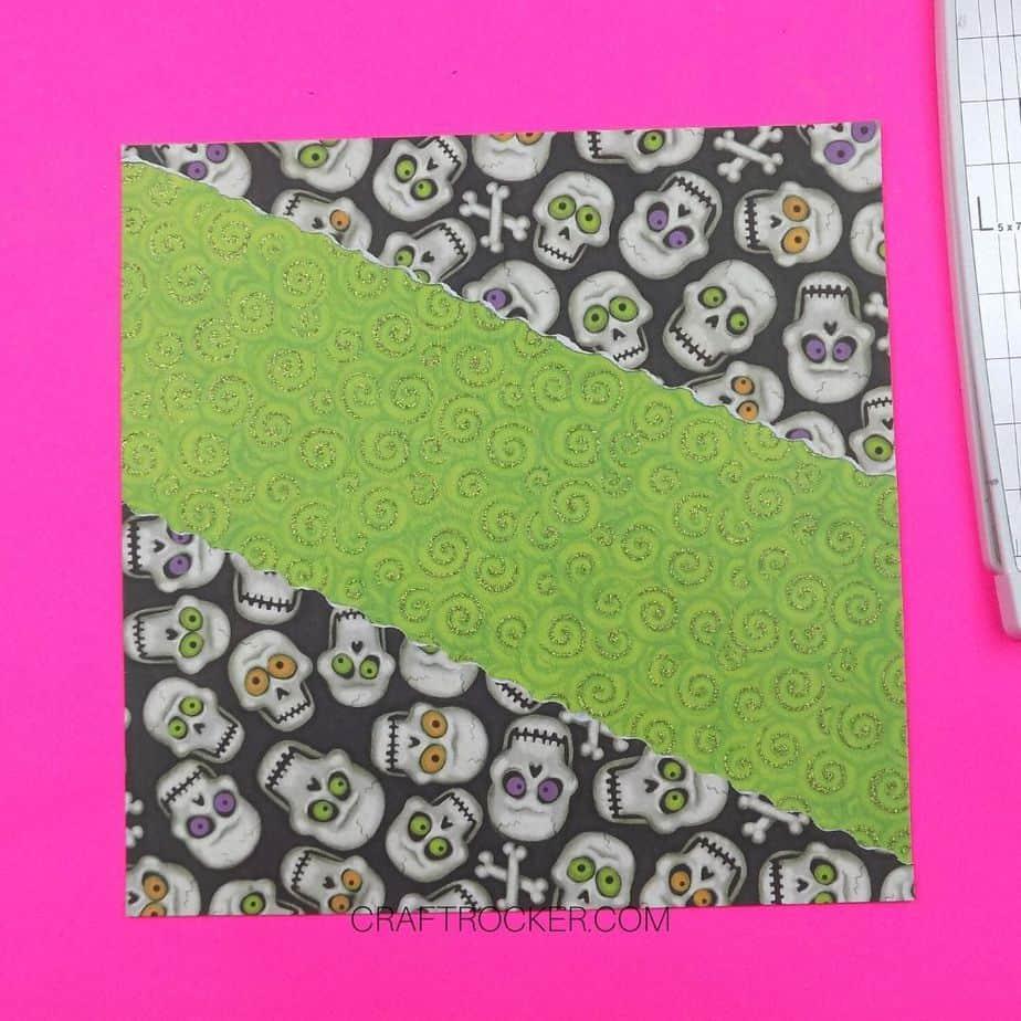 Torn Skull Paper Corners Glued to Green Swirls 12x12 Paper - Craft Rocker