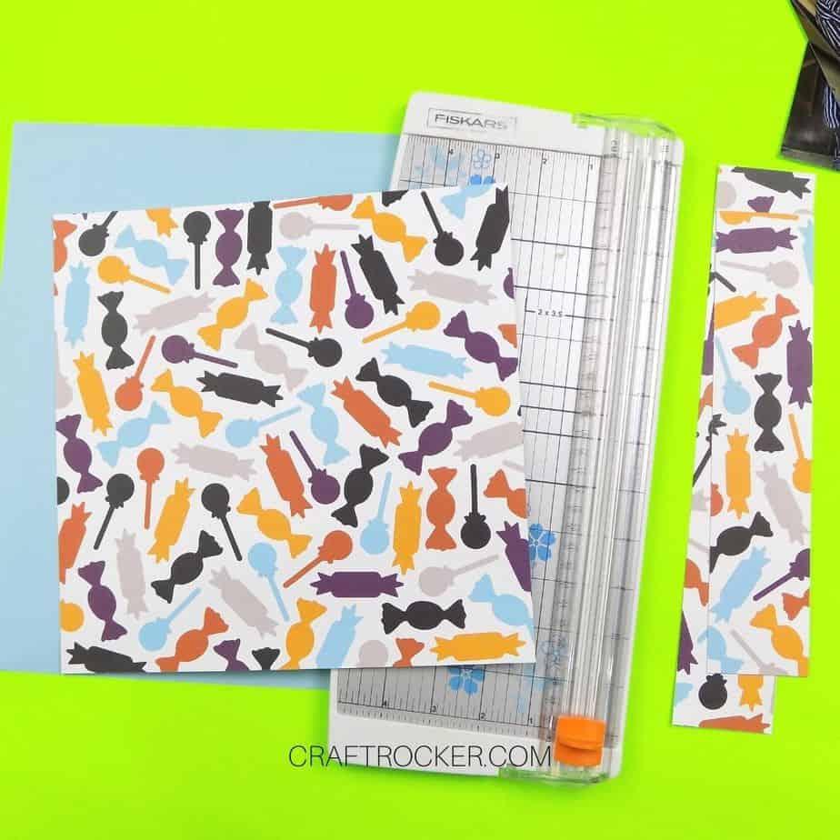 Trimmed Halloween Candy Paper on Paper Cutter - Craft Rocker