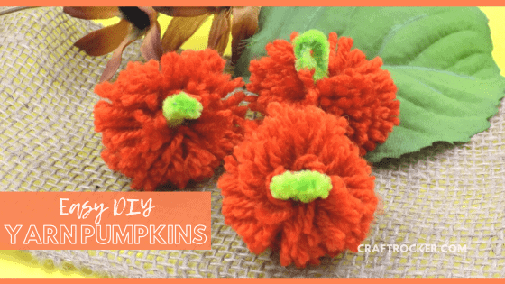 Yarn Pumpkins on Burlap with Flowers with text overlay - Easy DIY Yarn Pumpkins - Craft Rocker