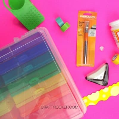 Assorted Craft Supplies on Pink Background - Craft Rocker