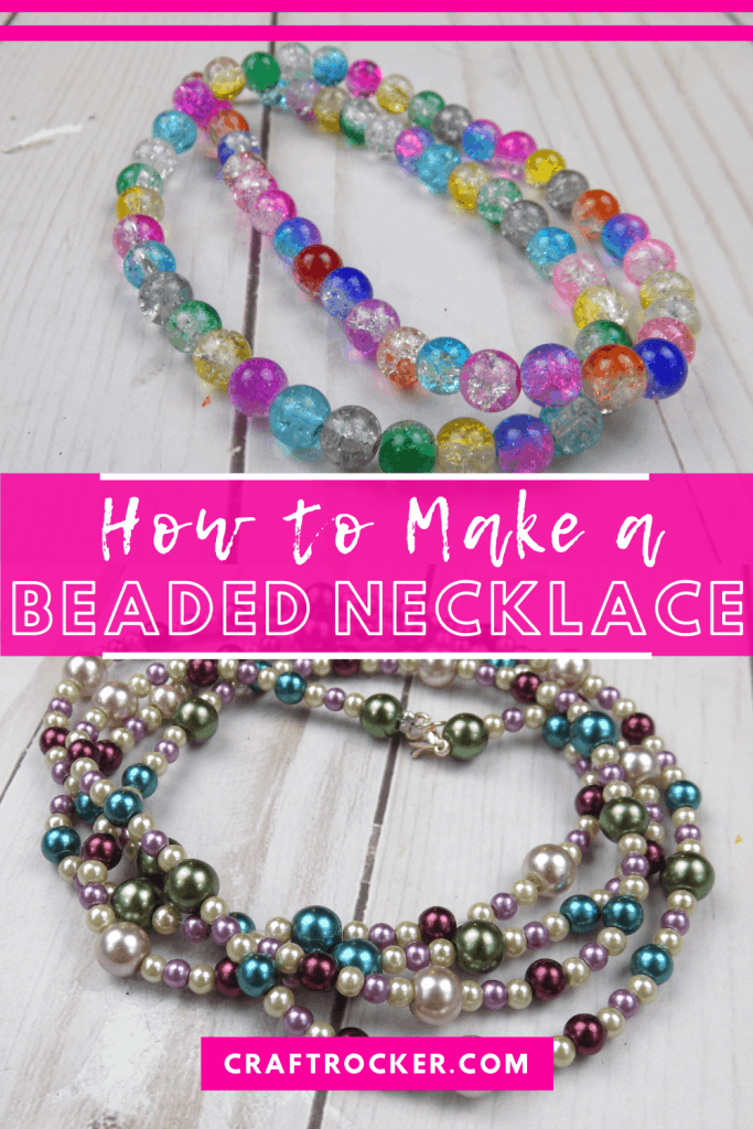 Beaded Necklaces on Wood Background with text overlay - How to Make a Beaded Necklace - Craft Rocker