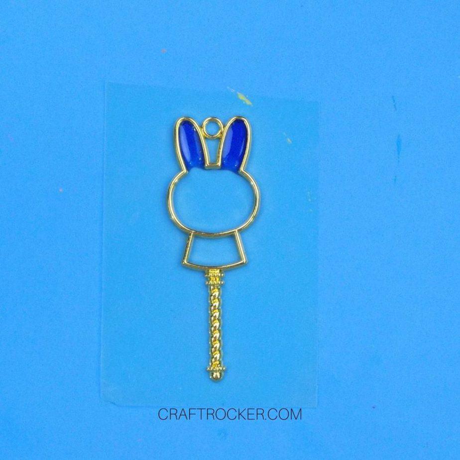 Blue UV Resin in Ears of Metal Bunny Charm - Craft Rocker