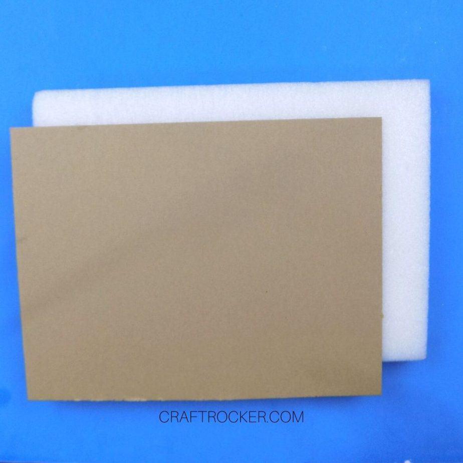 Cardboard Rectangle on Piece of White Foam - Craft Rocker
