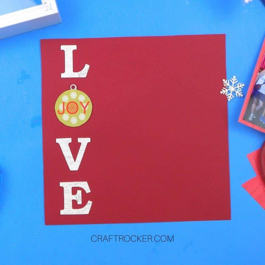 Chipboard Letters L - O - V - E on the Left Side of a Piece of Red Cardstock - Craft Rocker