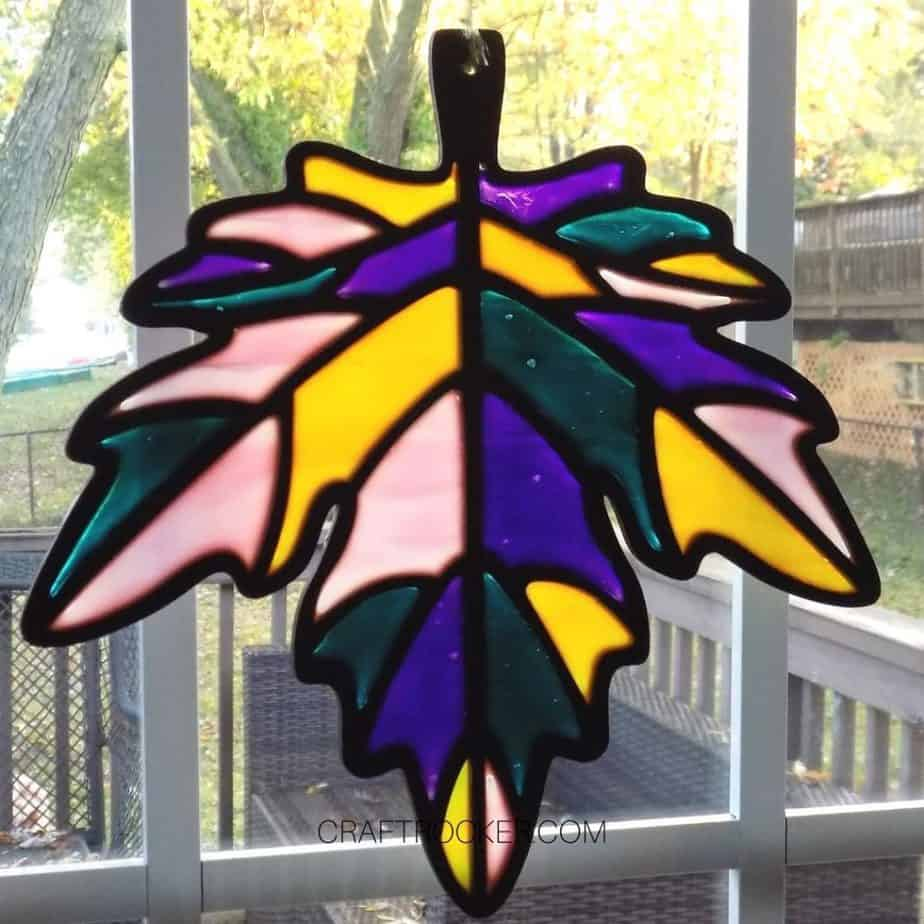 Close Up of Fall Suncatcher on Window - Craft Rocker