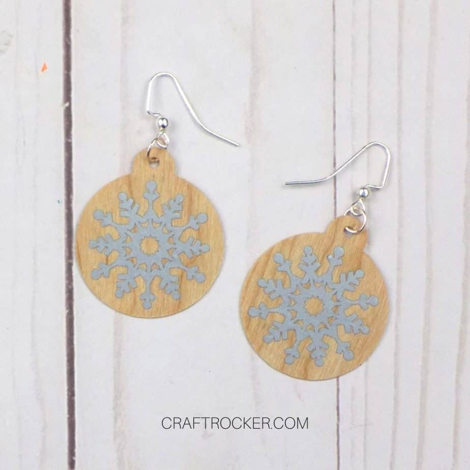 Close Up of Finished Wood Earrings with Snowflakes - Craft Rocker