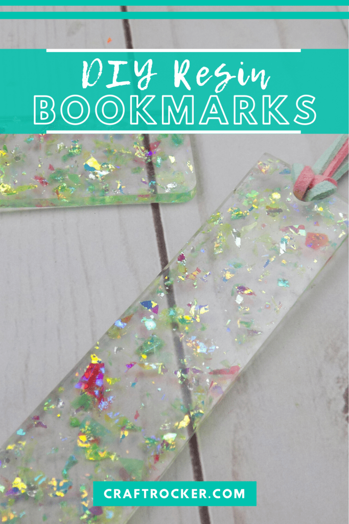 Close Up of Holographic Glitter Bookmarks with text overlay - DIY Resin Bookmarks - Craft Rocker
