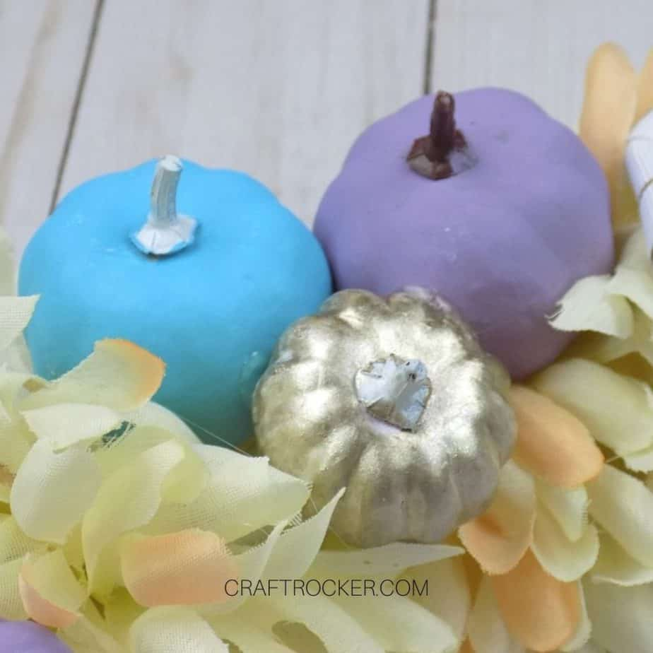 Close Up of Painted Mini Pumpkins next to Flowers - Craft Rocker