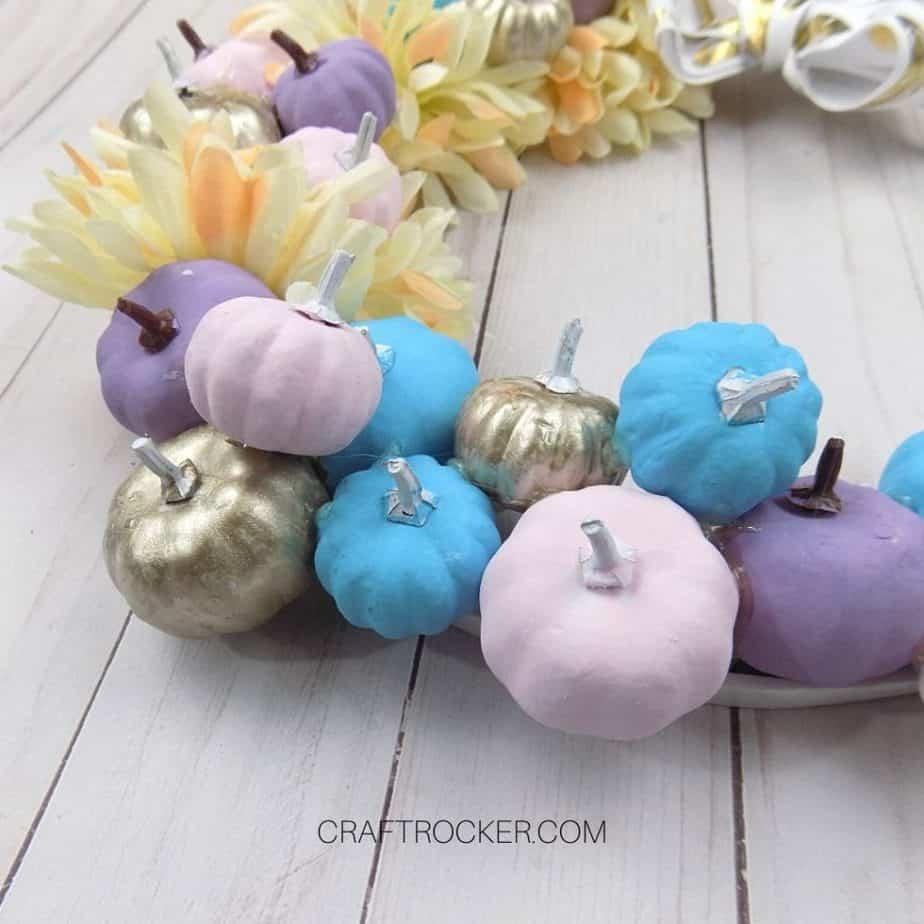 Close Up of Painted Mini Pumpkins on Hoop Wreath - Craft Rocker