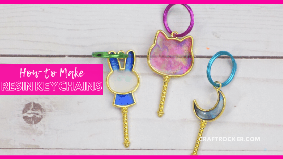 Close Up of UV Resin Keychains with text overlay - How to Make Resin Keychains - Craft Rocker