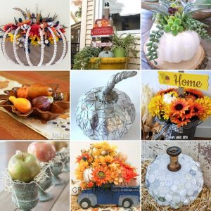 Collage of Photos of Dollar Store Fall Decor DIYs - Craft Rocker