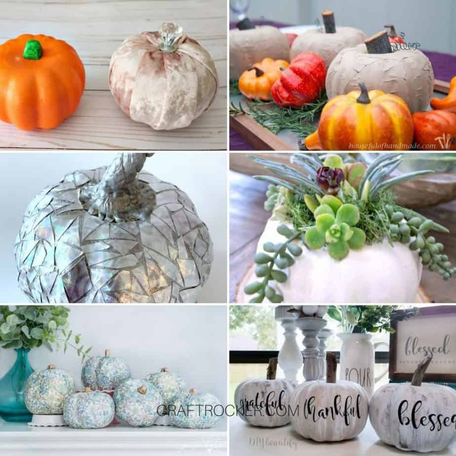 Collage of Photos of Dollar Tree Pumpkin Makeovers - Craft Rocker