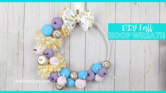 Fall Hoop Wreath on Wood Background with text overlay - DIY Fall Hoop Wreath - Craft Rocker