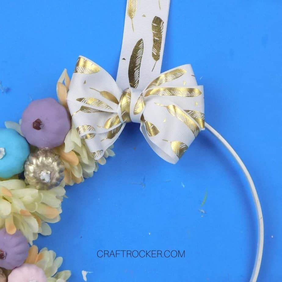 Gold Feather Ribbon Bow Glued to Wreath - Craft Rocker