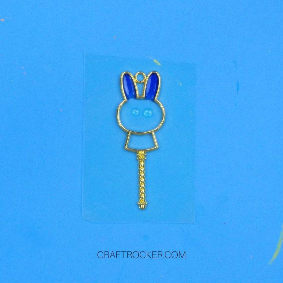 Green Eyes and Blue UV Resin in Metal Bunny Charm - Craft Rocker