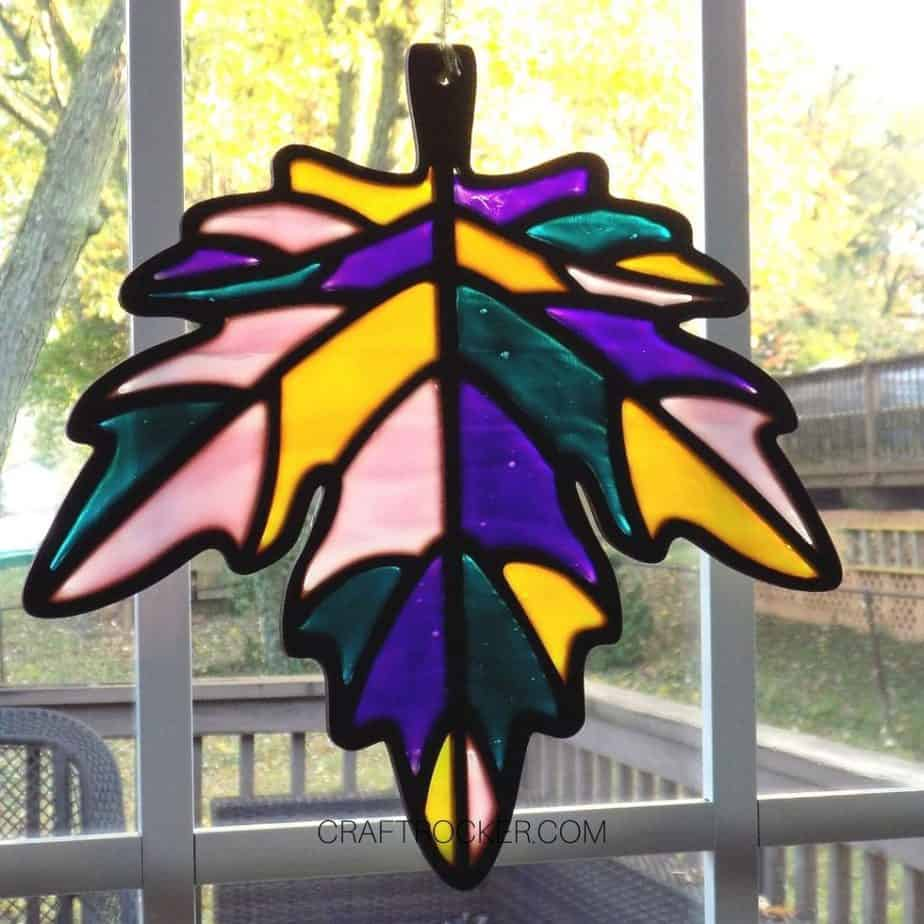 Hanging Stained Glass Leaf on Window - Craft Rocker
