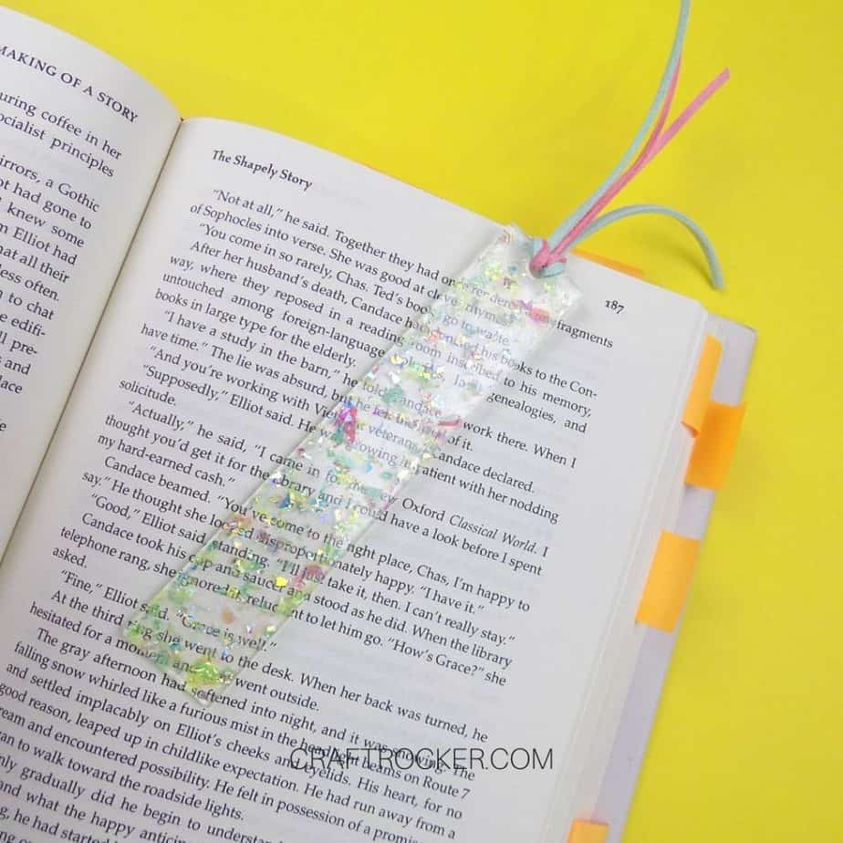 Holographic Glitter Resin Bookmark on Book - Craft Rocker
