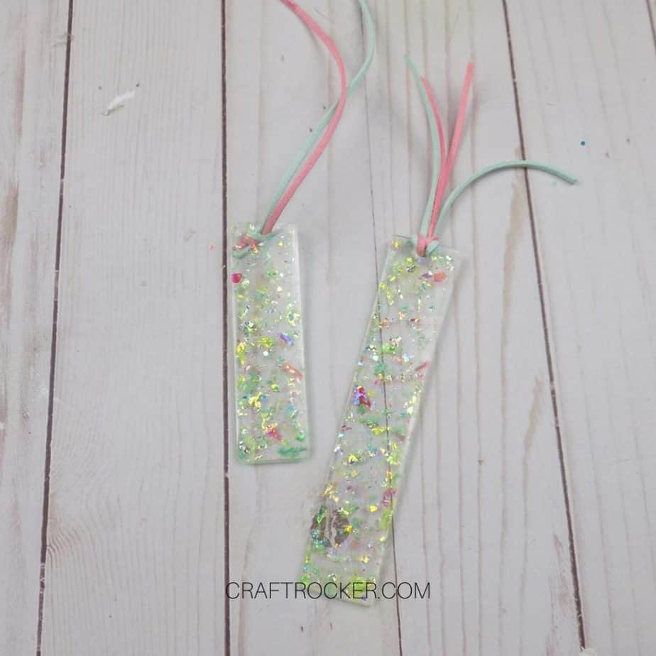 Holographic Glitter Resin Bookmarks on Wood Background - Craft Rocker