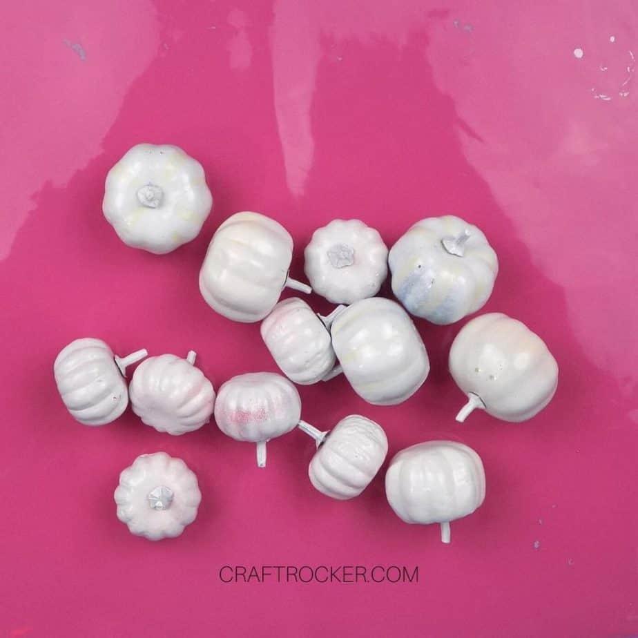 Mini White Painted Pumpkins on Pink Nonstick Mat - Craft Rocker