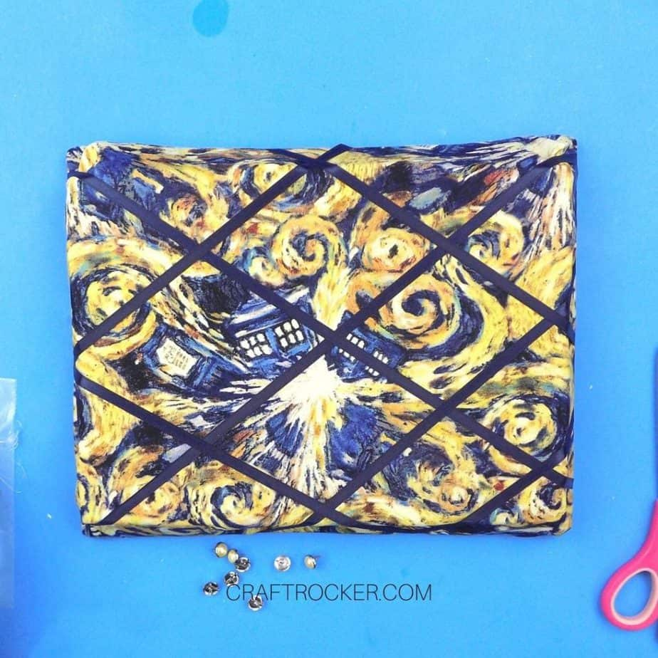 Navy Ribbon Crisscrossed On the Front of the Memo Board - Craft Rocker
