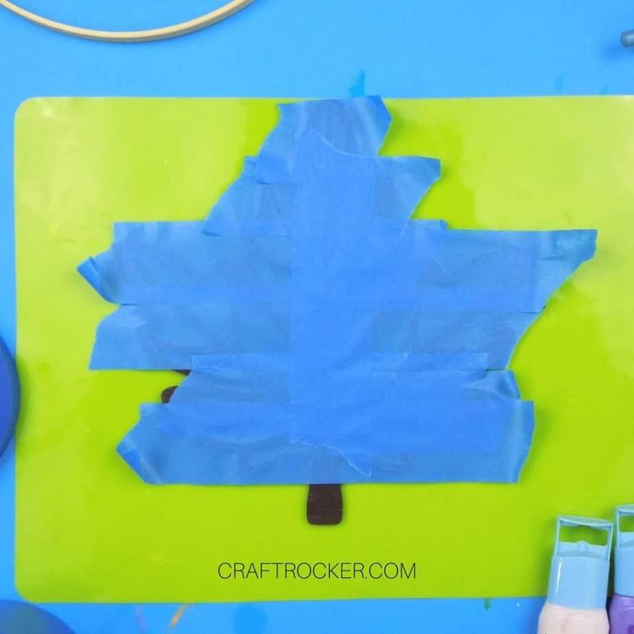 Painters Tape on Painted Wood Leaf - Craft Rocker