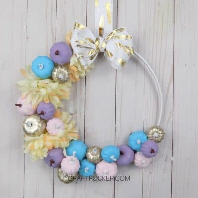 Pastel Fall Hoop Wreath on Wood Background - Craft Rocker