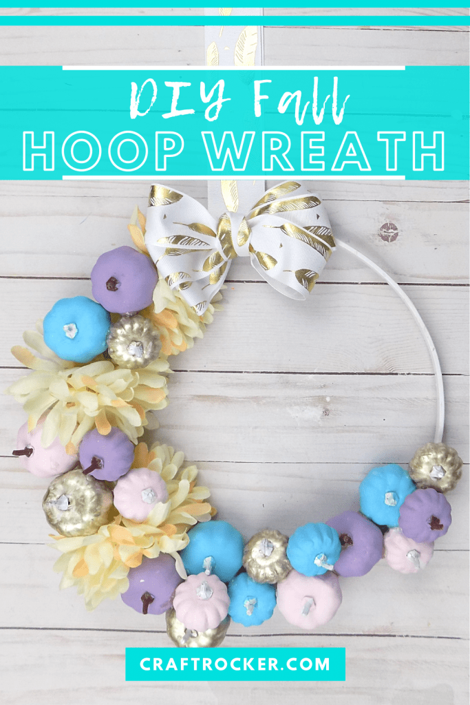 Pastel Hoop Wreath on Wood Background with text overlay - DIY Fall Hoop Wreath - Craft Rocker