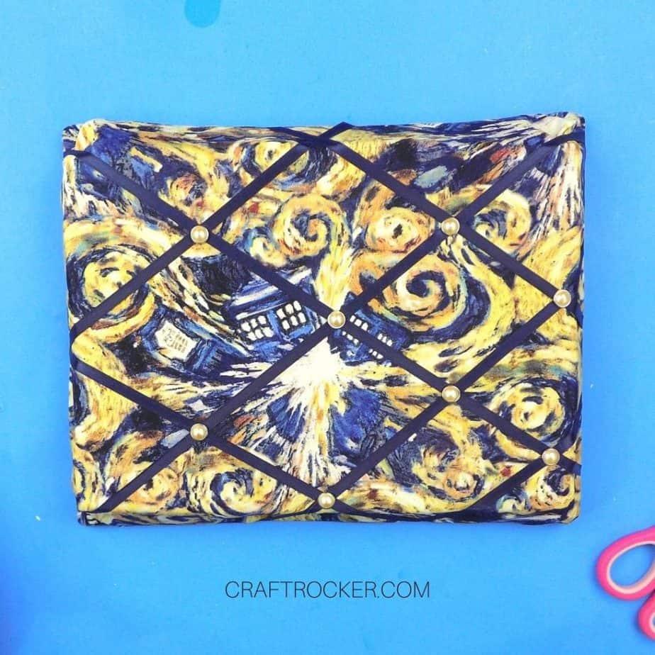 Pearlized Brads in Ribbon Intersections on Memo Board - Craft Rocker