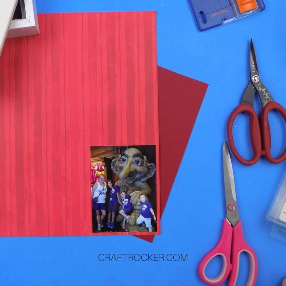 Photo Attached to Striped Red Paper next to Scissors - Craft Rocker