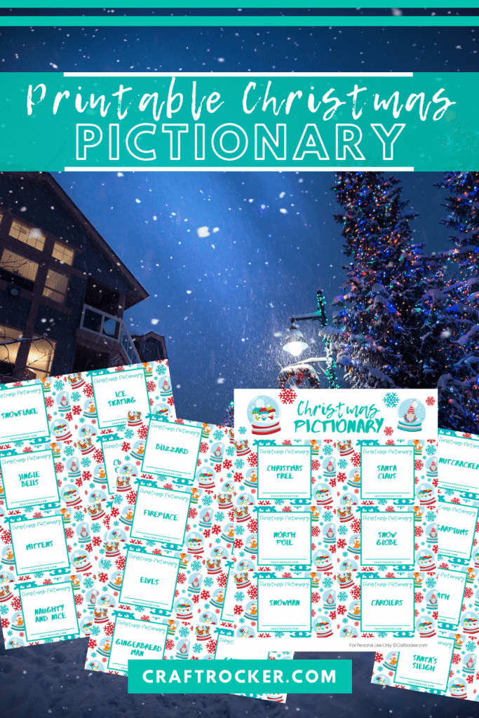 Pictionary Sheets on Christmas Scene with text overlay - Printable Christmas Pictionary - Craft Rocker