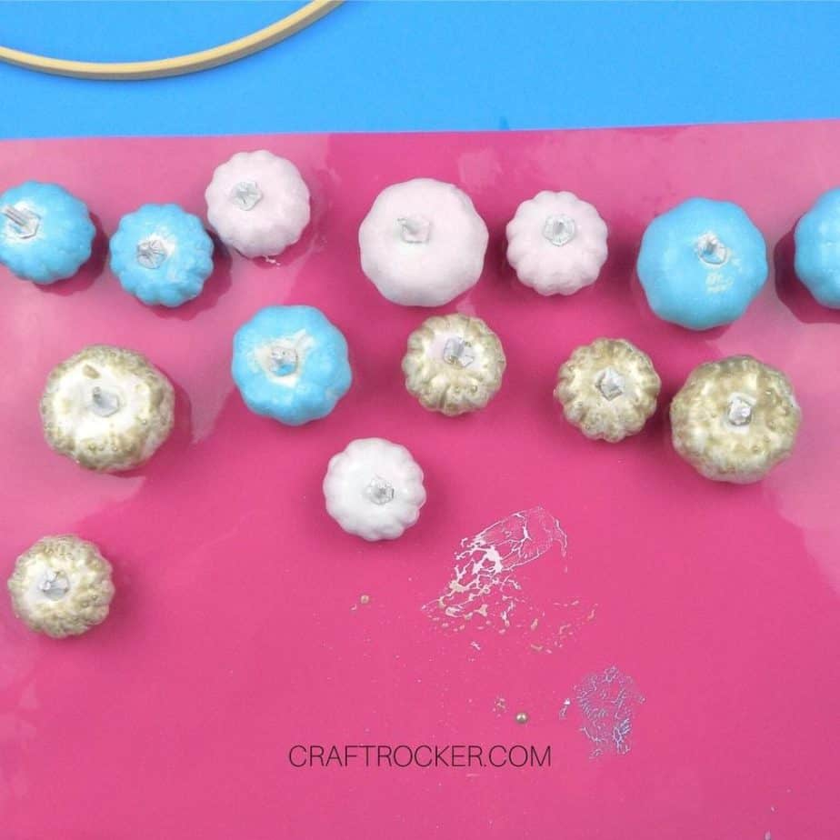 Pink Blue and Gold Painted Pumpkins on Pink Nonstick Mat - Craft Rocker