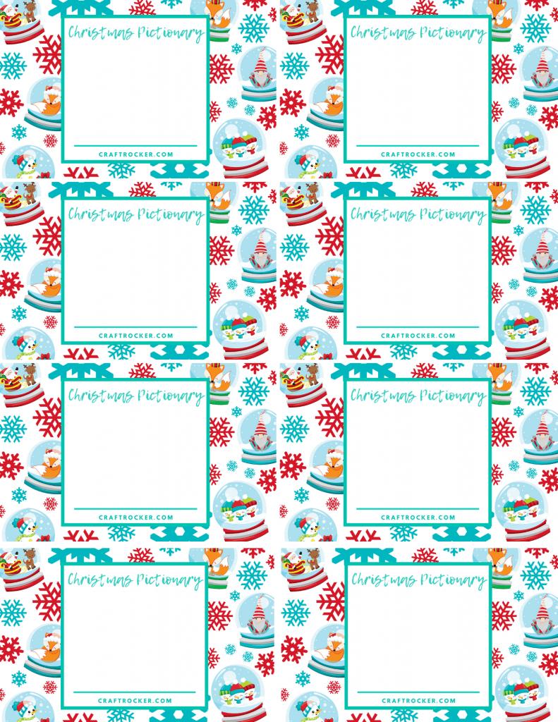 Blank Printable Christmas Pictionary Cards