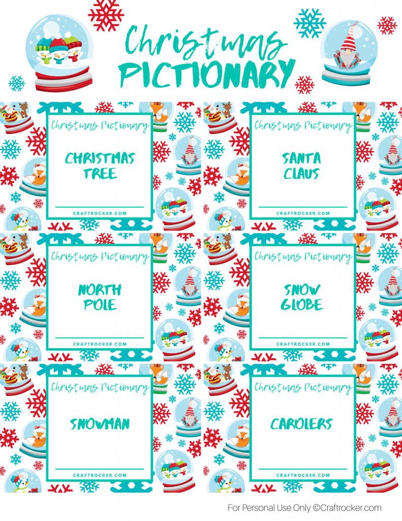 Printable Christmas Pictionary Cards Page 1