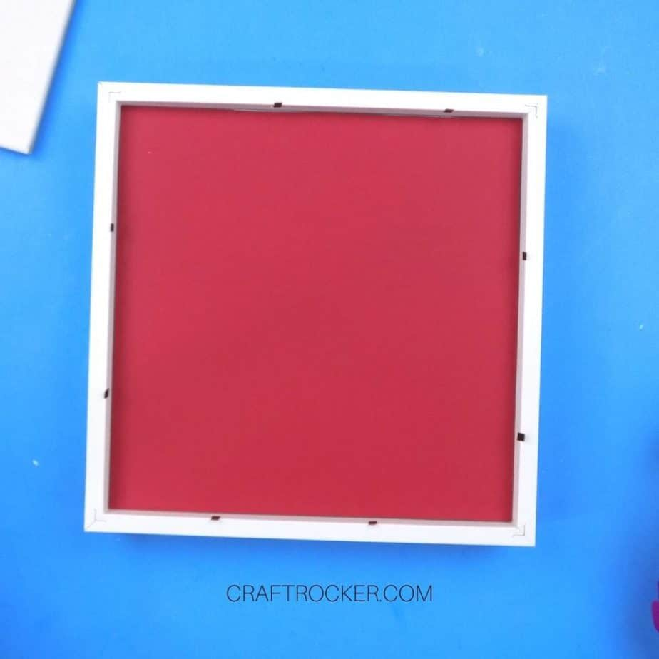 Red Cardstock Facedown in White Shadow Box - Craft Rocker