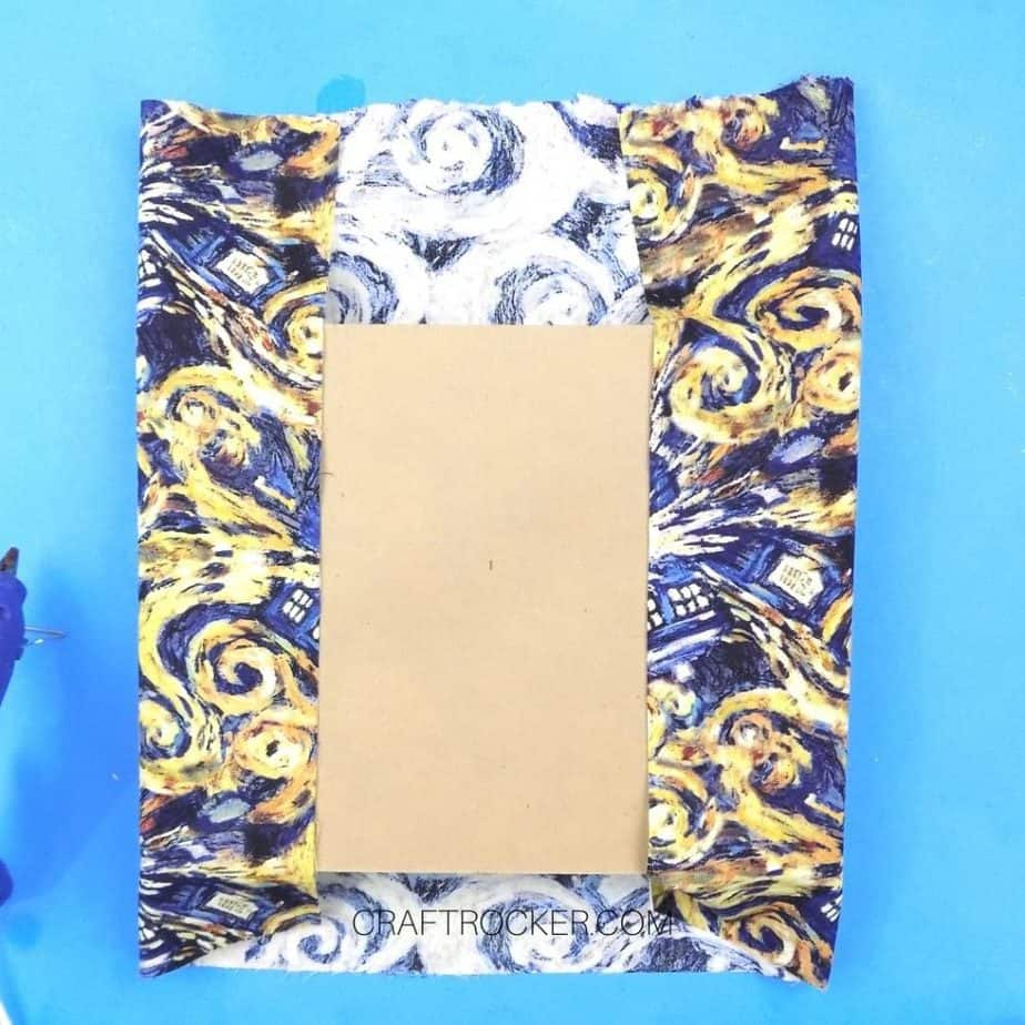 Short Edges of Fabric Glued to Back of Foam and Cardboard - Craft Rocker