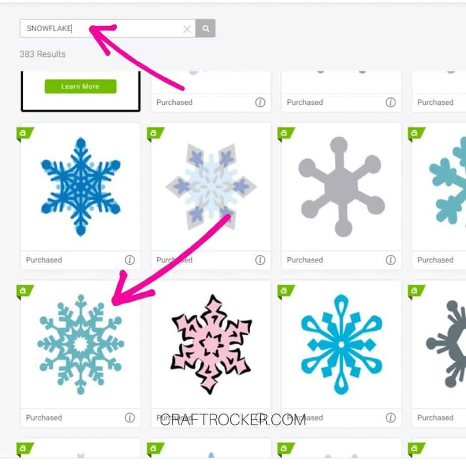 Snowflake Search Screenshot in Design Space - Craft Rocker