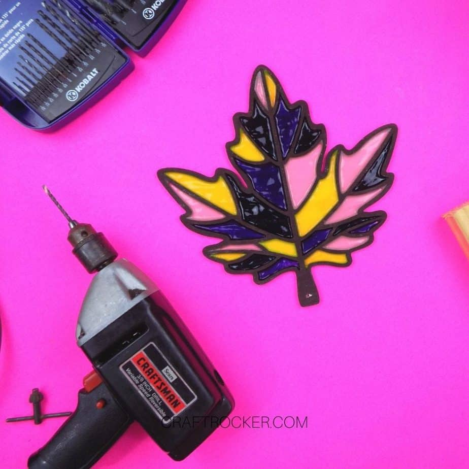 Stained Glass Wood Leaf next to Drill and Drill Bits - Craft Rocker