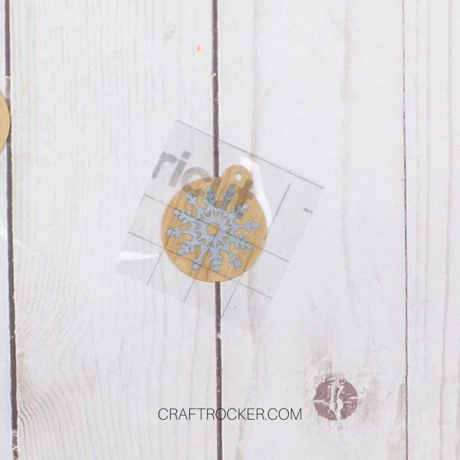 Transfer Tape with Silver Snowflake on Wood Ornament - Craft Rocker