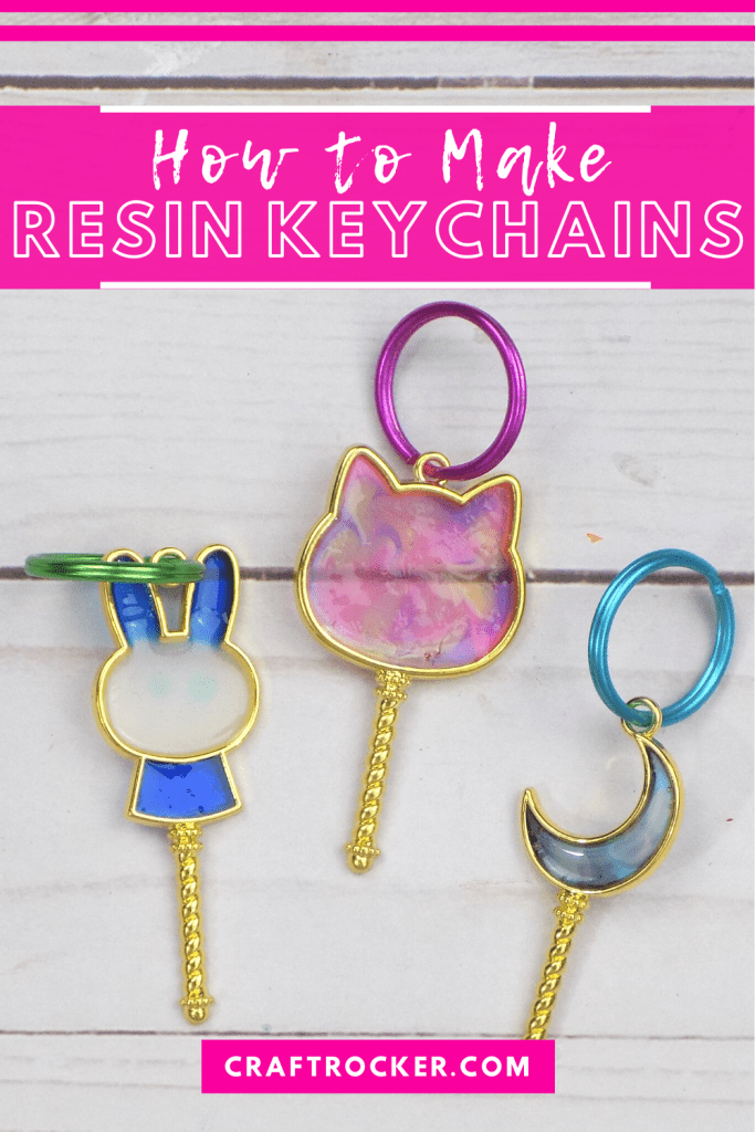 UV Resin Keychains on Wood Background with text overlay - How to Make Resin Keychains - Craft Rocker