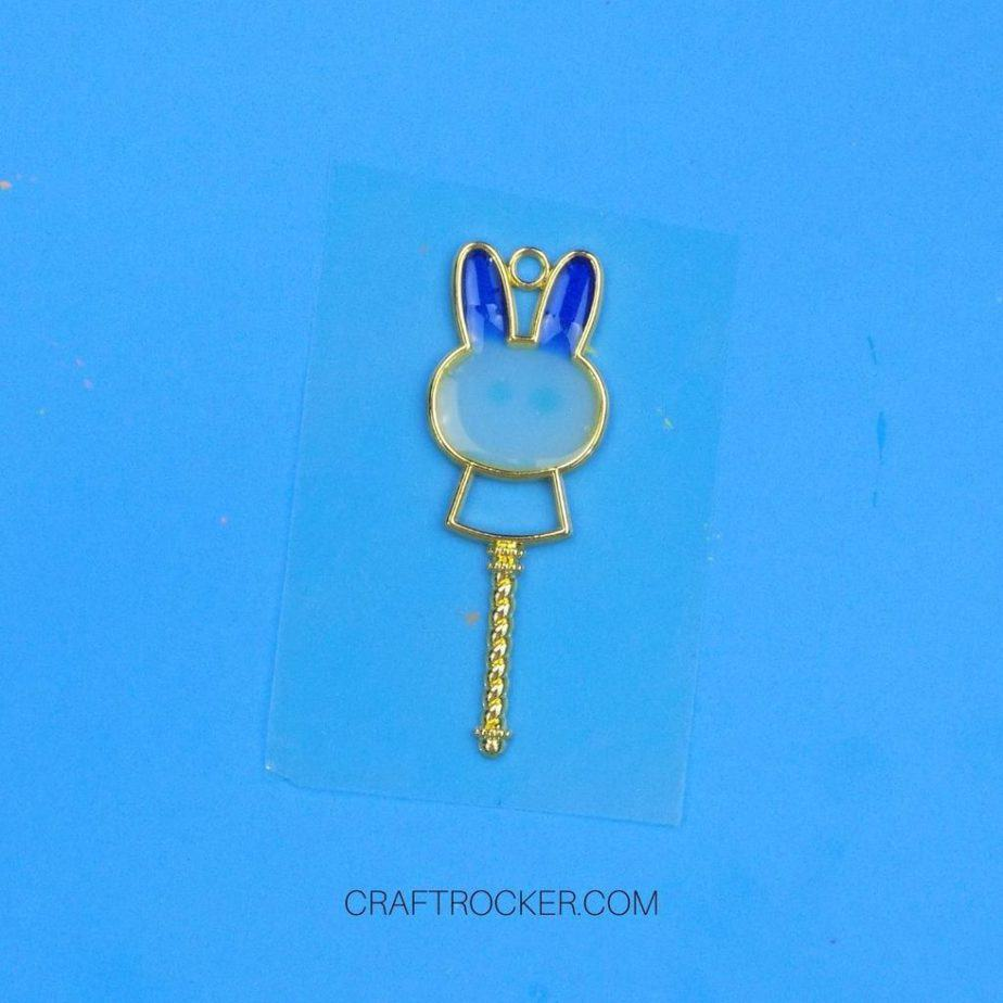 White and Blue UV Resin in the Head of Metal Bunny Charm - Craft Rocker