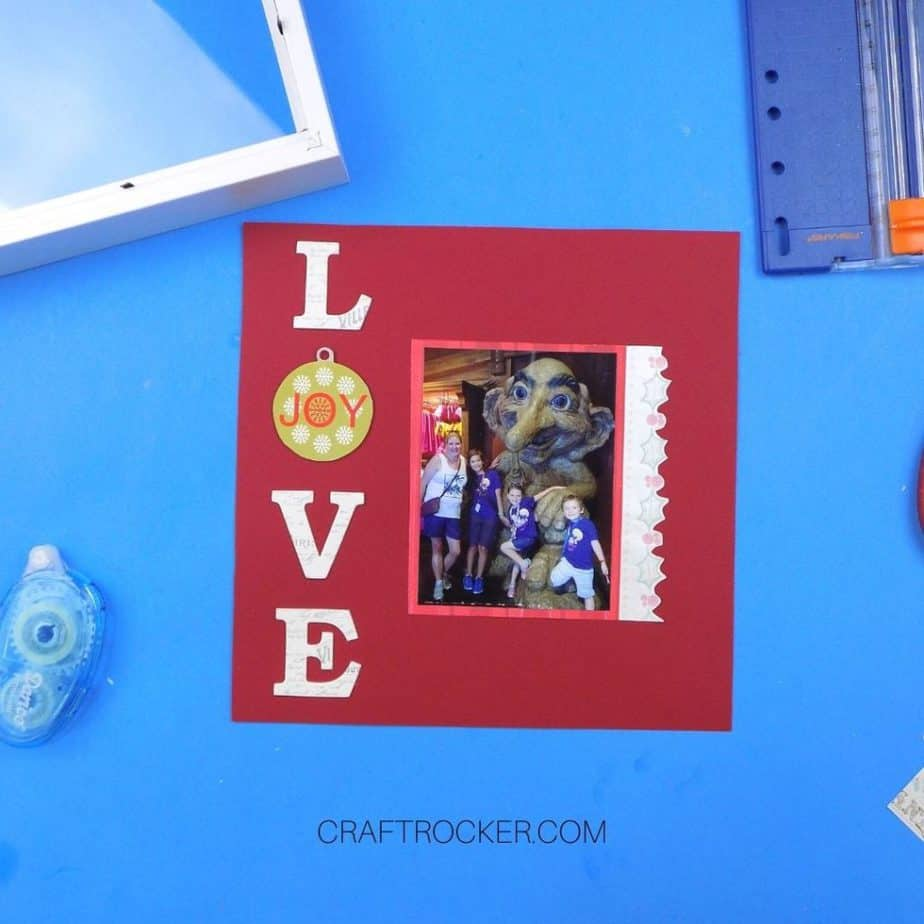 Word Love and Matted Photo on Red Cardstock - Craft Rocker