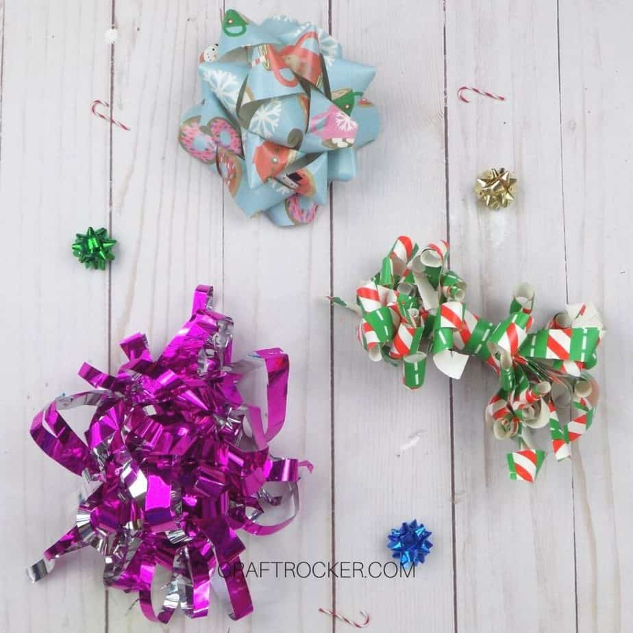 3 Different Styles of Wrapping Paper Bows on Wood Background - Craft Rocker