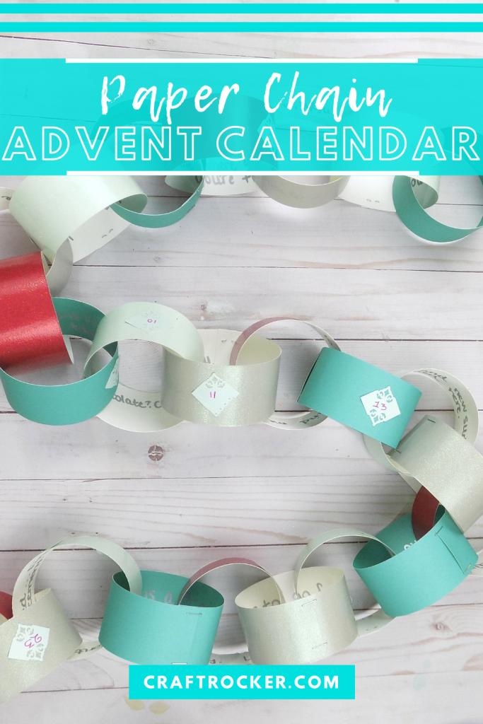 Advent Paper Chain on Wood Background with text overlay - Paper Chain Advent Calendar - Craft Rocker