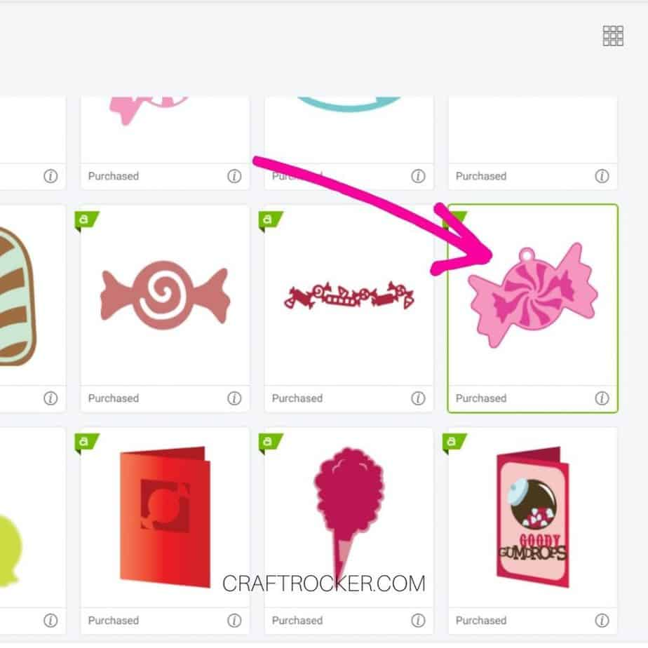 Arrow Pointing to Candy Cut File in Design Studio - Craft Rocker
