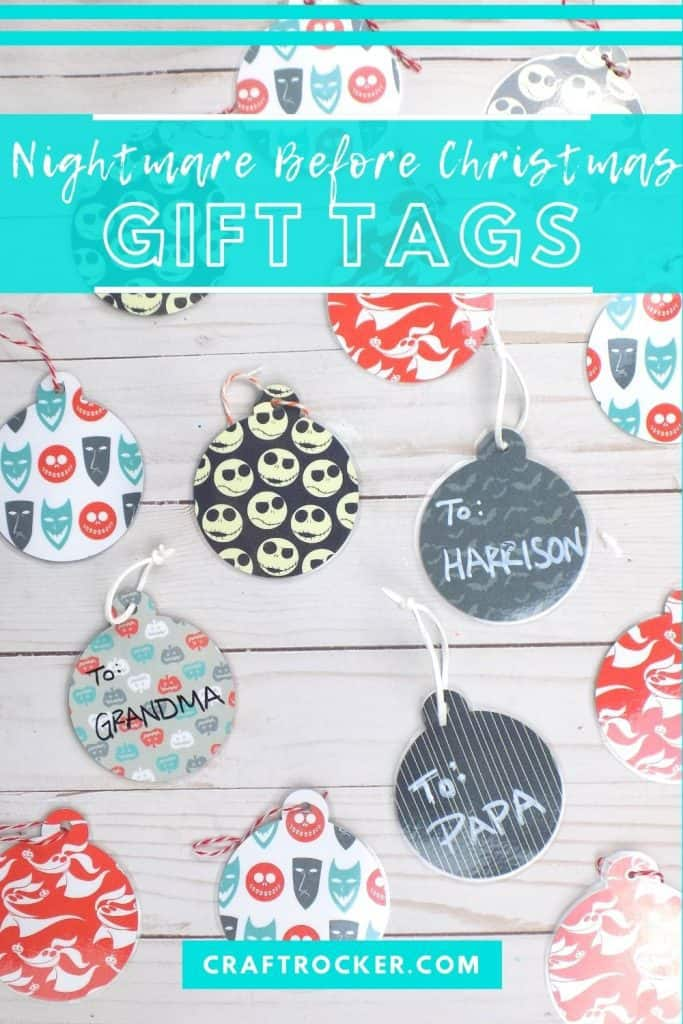 Assorted Christmas Gift Tags on Wood Background with text overlay - Nightmare Before Christmas Gift Tags - Craft Rocker