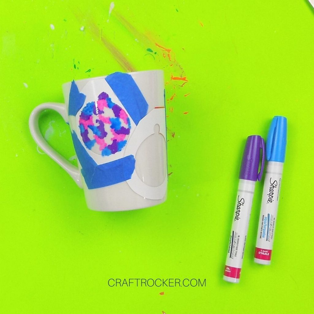 Blue Purple and Pink Paint in Ornament Outline - Craft Rocker