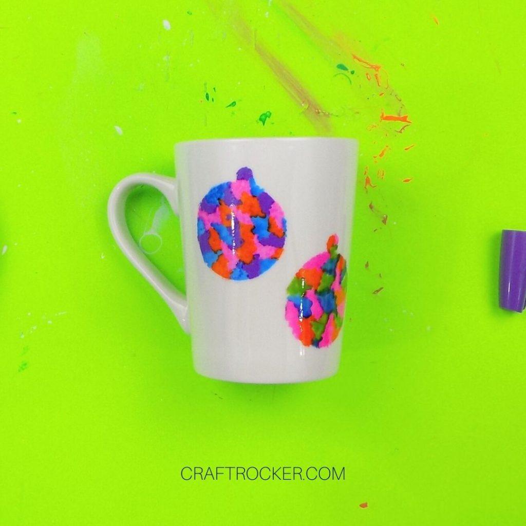 Clean Edged Colorful Ornaments on White Mug - Craft Rocker