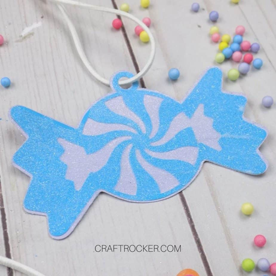 Close Up of Blue Glittery Paper Candy Ornament - Craft Rocker