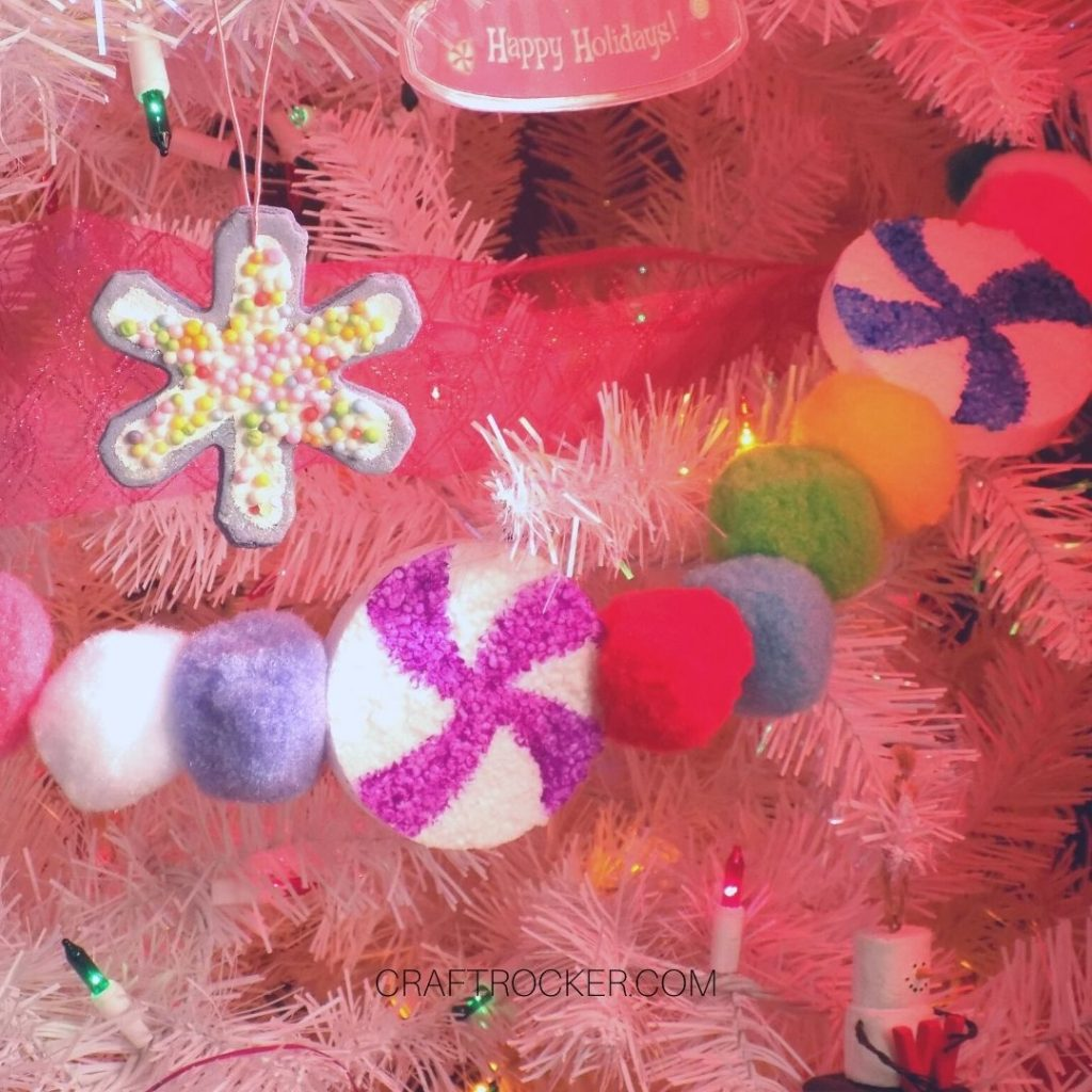 Close Up of Candy Garland on Tree - Craft Rocker