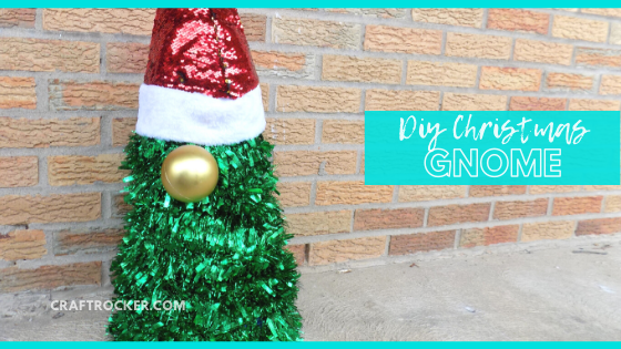Close Up of Christmas Gnome with text overlay - DIY Christmas Gnome - Craft Rocker